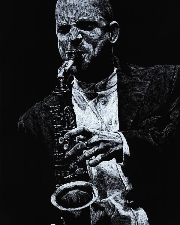 Musician Poster featuring the pastel Sensational Sax by Richard Young