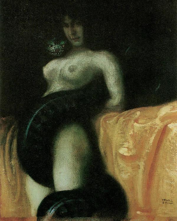 Franz Von Stuck Poster featuring the painting Sensuality by Franz Von Stuck
