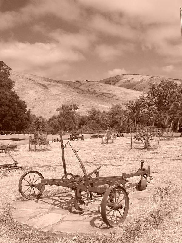 Landscape Poster featuring the photograph Sepia Farm Hand 2 by Gwendolyn Barnhart