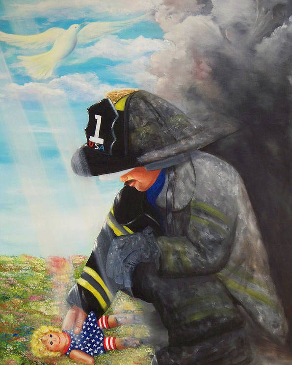 Portrait Poster featuring the painting September 11th by Joni McPherson