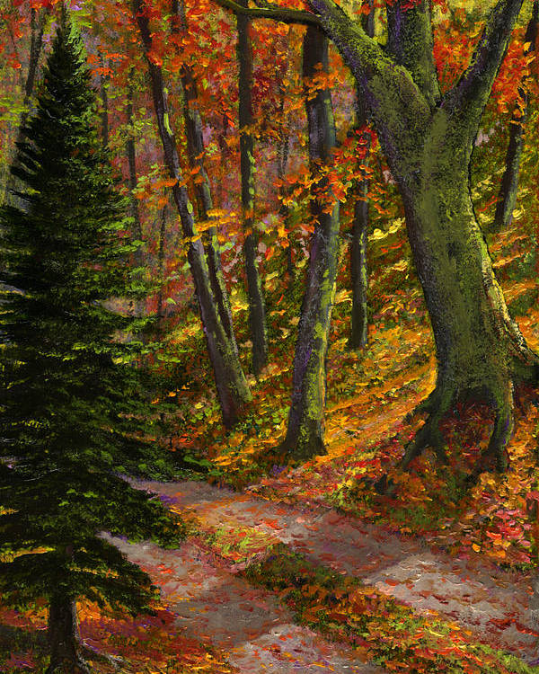 Road In The Woods Poster featuring the painting September Road by Frank Wilson