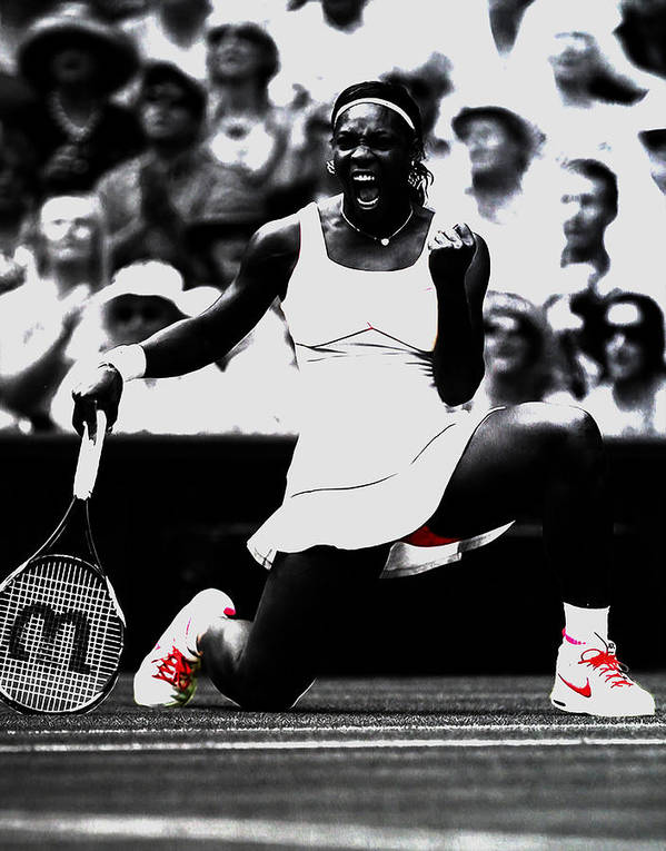 Serena Williams Poster featuring the mixed media Serena Williams Victory by Brian Reaves