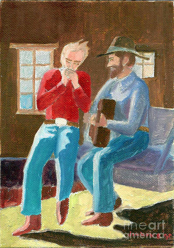 Cowboys Poster featuring the painting Serenade by Fred Jinkins