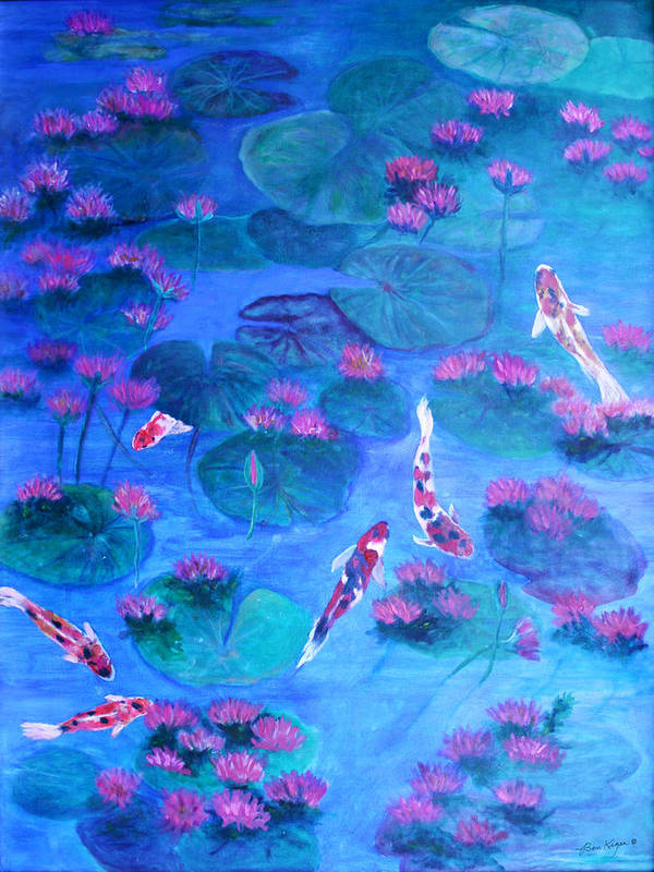 Lily Pads Poster featuring the painting Serene Pond by Ben Kiger