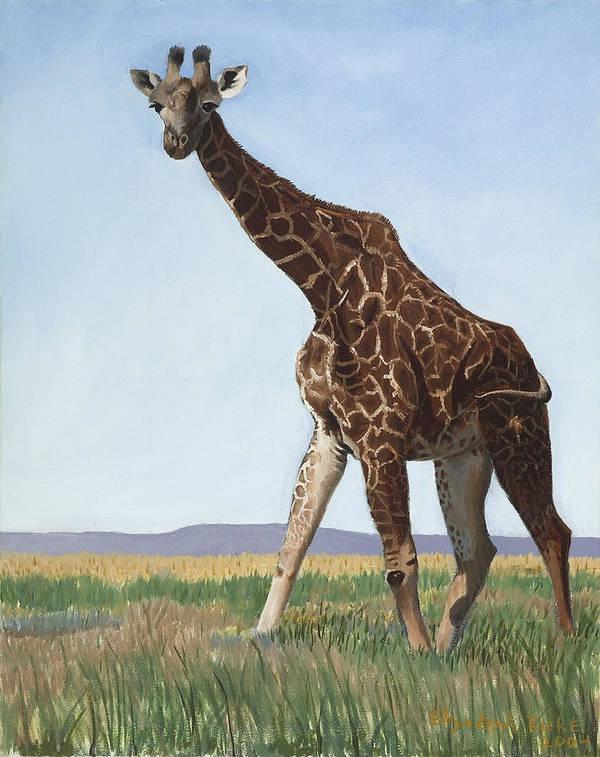 Giraffe Poster featuring the painting Serengeti Longneck by Elizabeth Rieke Hefley