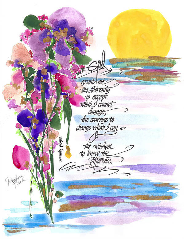 Watercolors..................vibrant Poster featuring the drawing Serenity Prayer by Darlene Flood