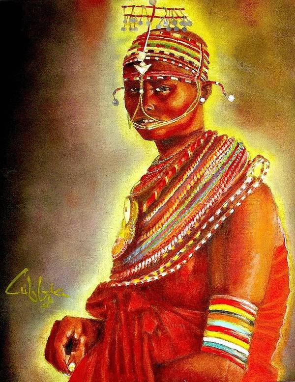 Maasai Brides Poster featuring the painting Serinna by G Cuffia