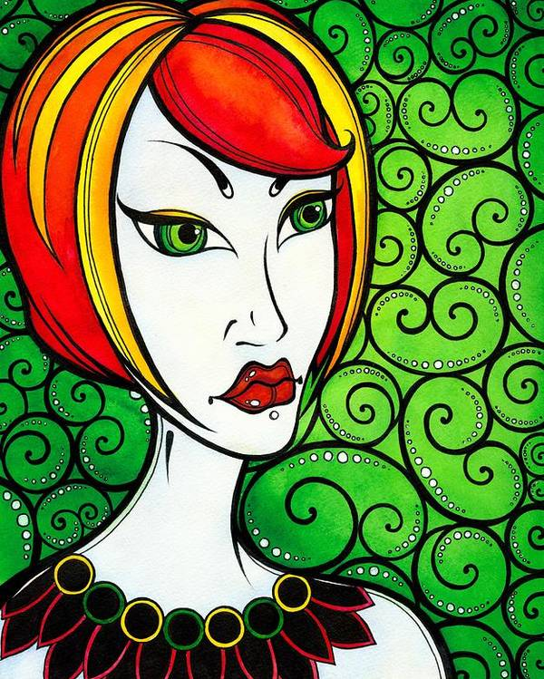 Woman Poster featuring the painting Serious Girl by Darya Lavinskaya