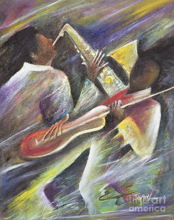 African-american; African Poster featuring the painting Session by Ikahl Beckford