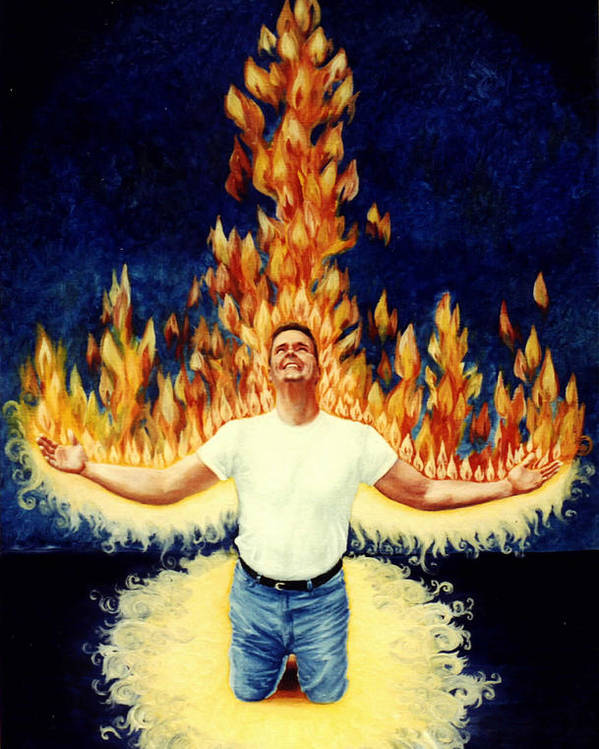 Holy Spirit Fire Poster featuring the painting Set Aflame by Teresa Carter