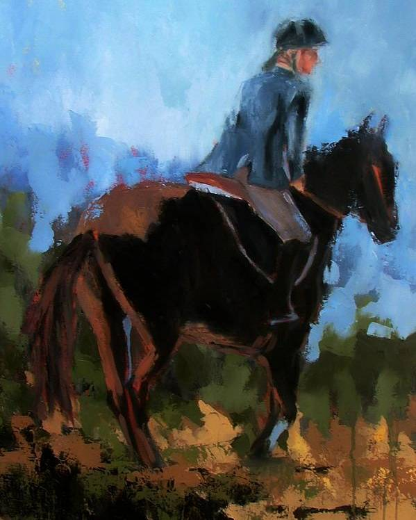 Horse Poster featuring the painting Setting Up The Jump by Donna Thomas