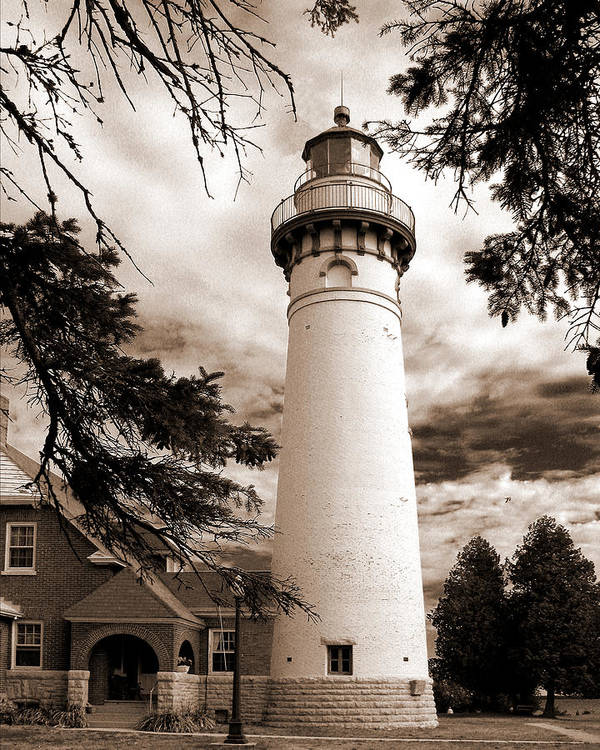 Lighthouse Poster featuring the photograph Seul Choix Point Lghthouse Mi by Rich Stedman