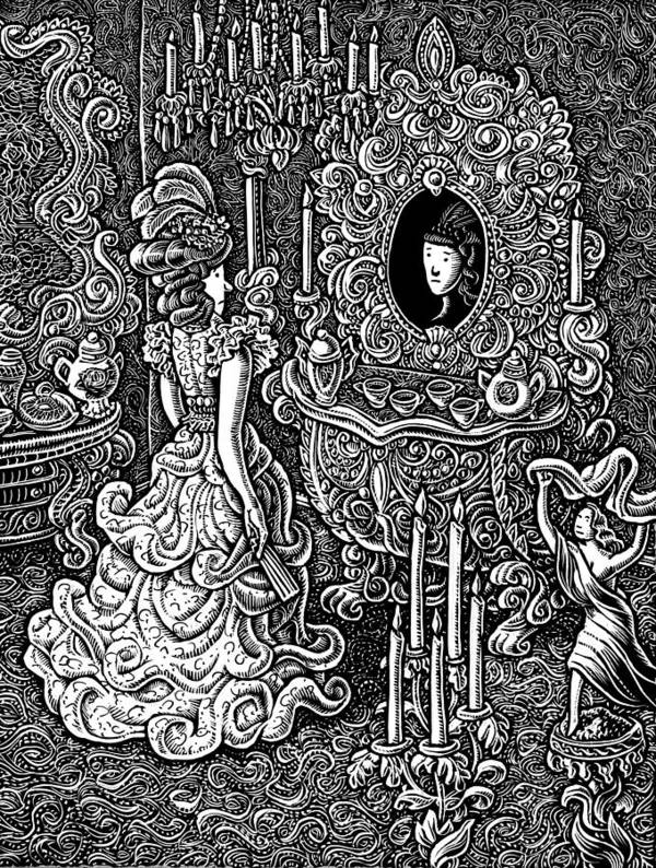 Baroque Poster featuring the drawing Seven Sins Greed by Lisa Haney