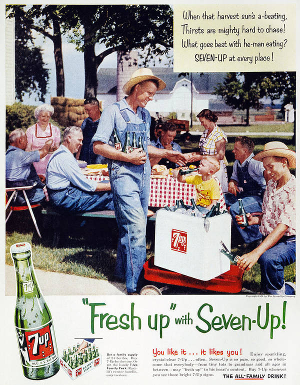 -domestic- Poster featuring the photograph Seven-up Soda Ad, 1954 by Granger