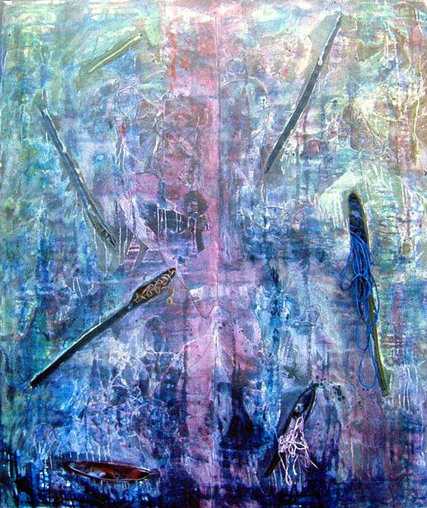 Abstract Poster featuring the painting Seven Zippers by Nancy Mueller