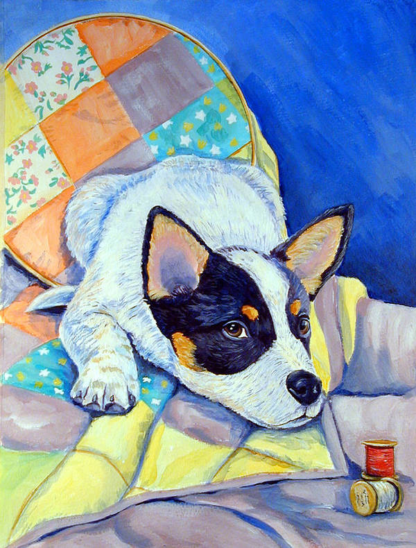 Australian Cattle Dog Poster featuring the painting Sew Sweet by Lyn Cook