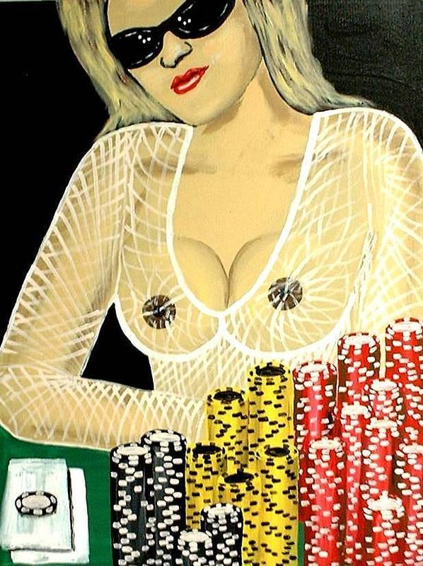 Hot Poster featuring the painting Sexy Poker Girl by Teo Alfonso