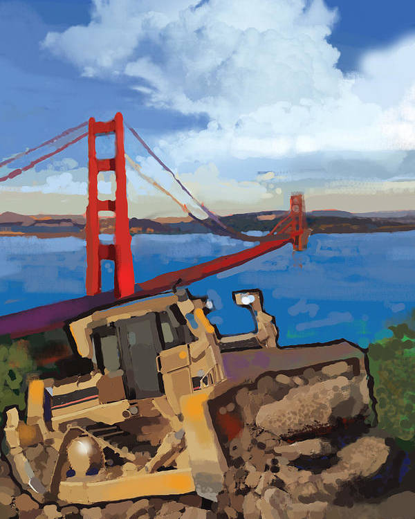 Bulldozers Poster featuring the painting Sf And D9 by Brad Burns