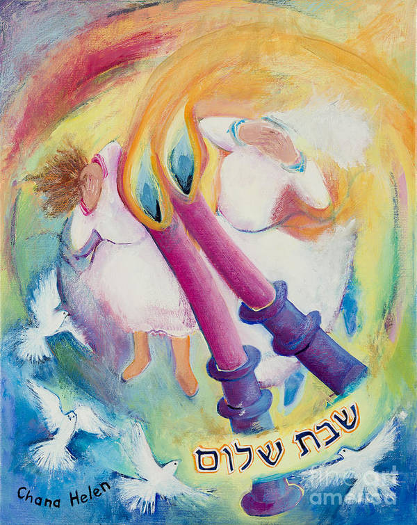 Poster Featuring The Painting Shabbat Candle Lighting By Chana Helen  Rosenberg