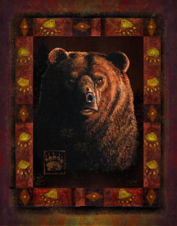Wildlife Poster featuring the painting Shadow Grizzly by JQ Licensing