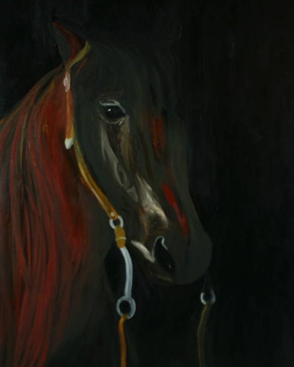 Horse Poster featuring the painting Shadow by Karen Rester