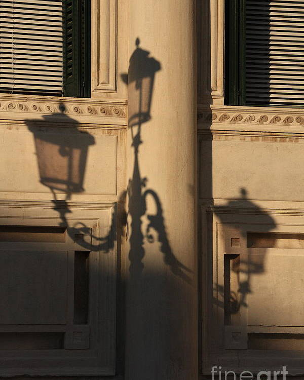 Venice Poster featuring the photograph Shadow Of A Lamp Post In Venice by Michael Henderson