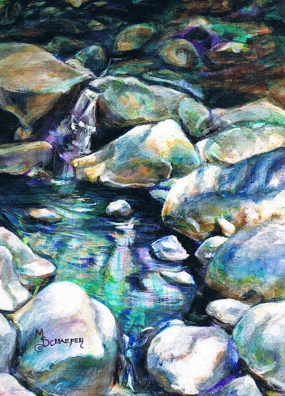Santa Barbara Botanical Gardens Poster featuring the painting Shadow Play In Mission Creek by M Schaefer