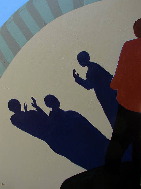 Talking Poster featuring the painting Shadow Talk by Renee Kahn