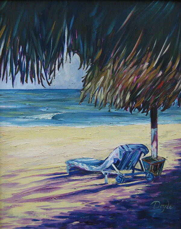 Beach Poster featuring the painting Shady Beach by Karen Doyle