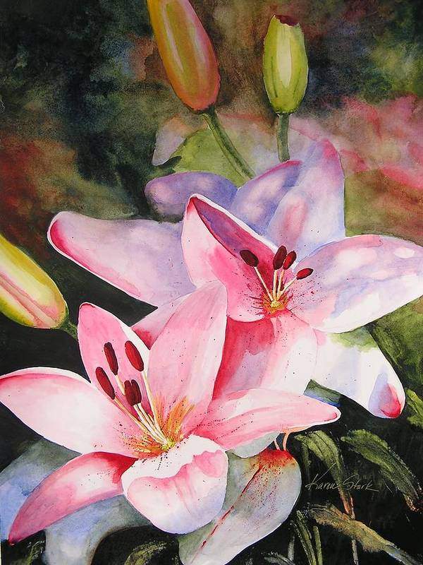 Lilies Poster featuring the painting Shady Ladies by Karen Stark