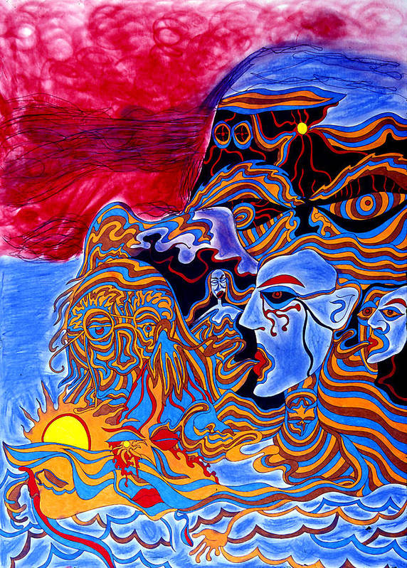 Abstract Poster featuring the print Shaman Of The Red Sky by William Watson