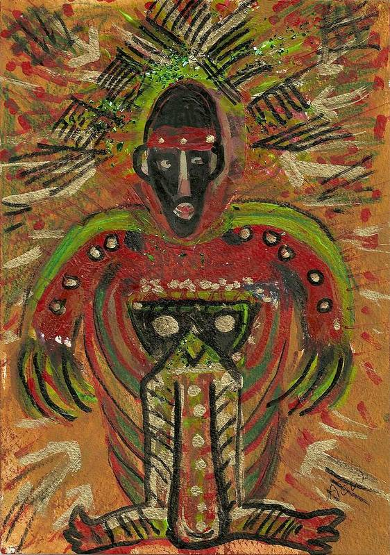 Shaman Poster featuring the mixed media Shaman Says Walk Softly And Carry A Big Schtik by Anne-Elizabeth Whiteway