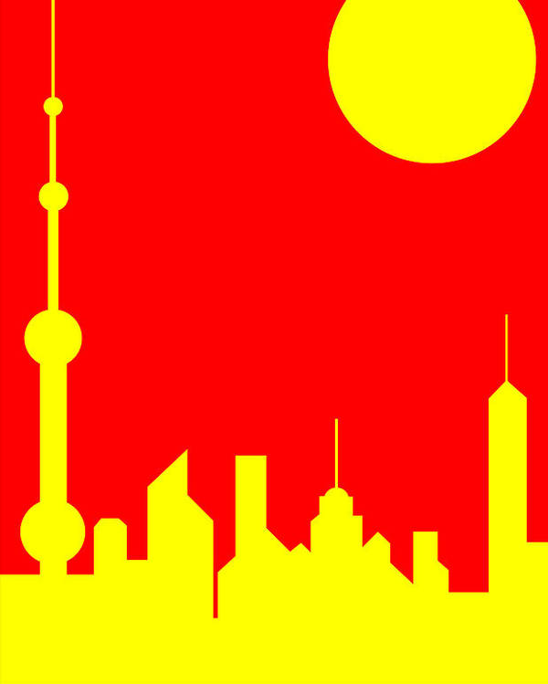 Poster featuring the digital art Shanghai Sunshine by Asbjorn Lonvig
