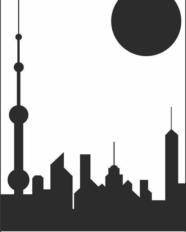 Shanghai Sunshine Poster featuring the digital art Shanghai Sunshine Black White by Asbjorn Lonvig