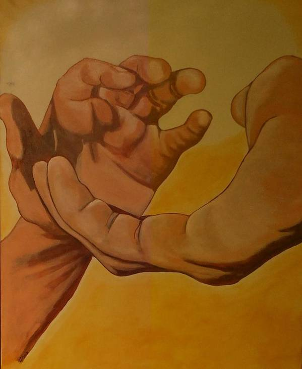 Religious Art Poster featuring the painting Sharing Hand by Lumami Dumapat