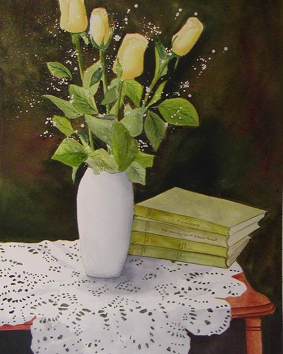 Watercolour Poster featuring the painting Shaw And Yellow Roses by Sharon Steinhaus