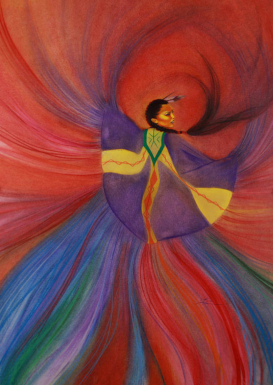 Dancing Woman Poster featuring the painting Shawl Dancer by Maria Hathaway Spencer