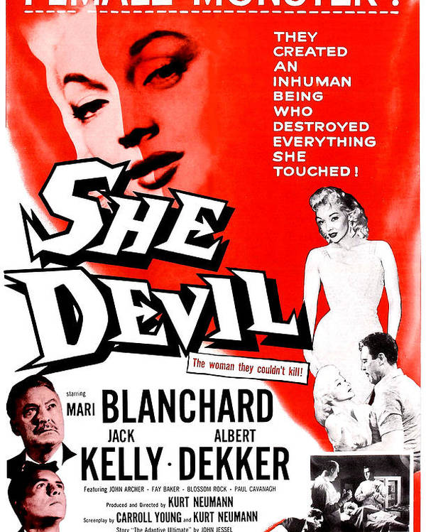 1950s Poster Art Poster featuring the photograph She Devil, Blonde Woman Featured by Everett