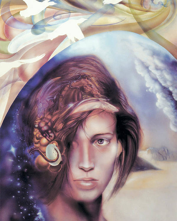 Portrait Poster featuring the painting She Dreams Of... by Dragan Gilic