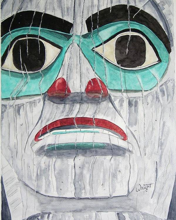 Alaska Totem Figure Poster featuring the painting She Is Tlingit by Larry Wright