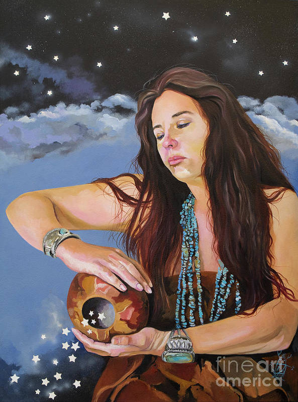 Medicine Woman Poster featuring the painting She Paints With Stars by J W Baker