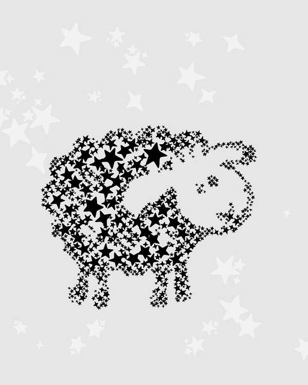 Animal Poster featuring the digital art Sheep Black Star by Hieu Tran