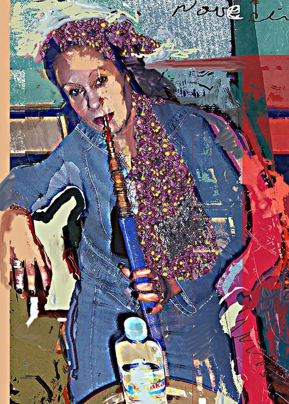 Portrait Poster featuring the mixed media Sheesha by Noredin Morgan