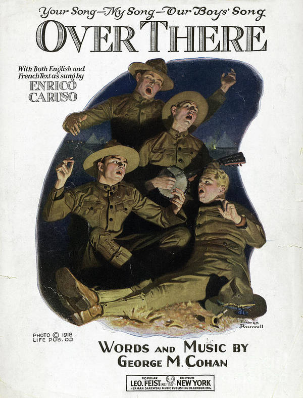 1917 Poster featuring the drawing Sheet Music Cover, 1918 by Norman Rockwell