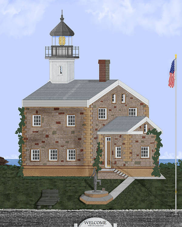 Lighthouse Poster featuring the painting Sheffield Island Lighthouse Connecticut by Anne Norskog