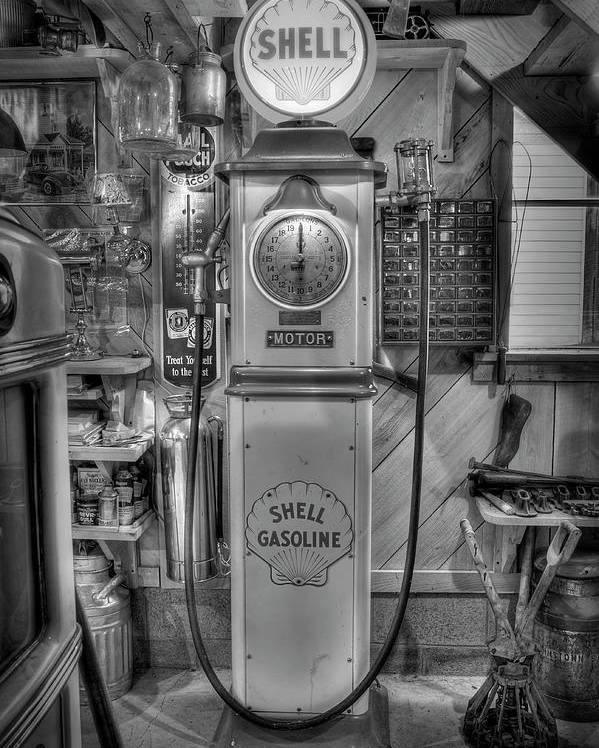 Antiques Poster featuring the photograph Shell Gas Pump by Williams-Cairns Photography LLC