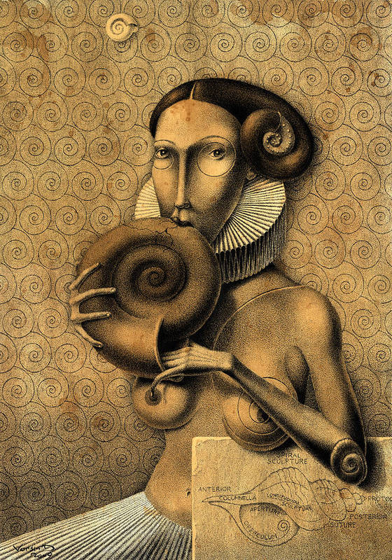 Surrealism Poster featuring the drawing Shell Eater by Dmitry Vorsin