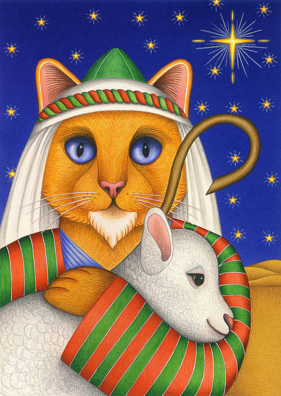 Orange Tabby Cat Poster featuring the painting Shepherd Cat by Carol Wilson