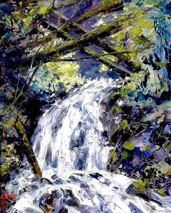 Landscape Poster featuring the painting Shepherds Dell Falls Coumbia Gorge Or by Jim Gola