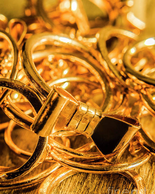 Gold Poster featuring the photograph Shiny Gold Rings by Jorgo Photography - Wall Art Gallery
